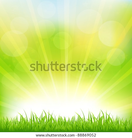 Green Background With Green Grass And Sunburst Vector Illustration