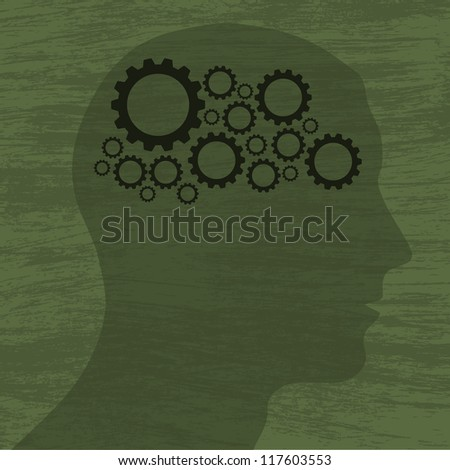Green background with human head silhouette and gears