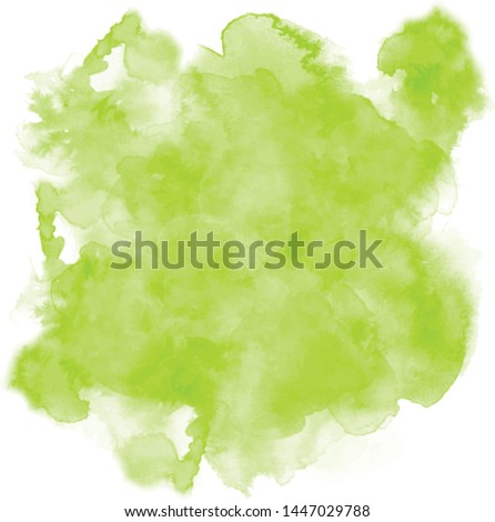 Green background with juicy colors. Watercolor screen ideal as a texture for nature, tropical and fruity painting. Green-white water stain. Abstract vector paint splash, isolated on white backdrop.