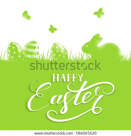 Green background with little rabbit and Easter eggs in a grass, holiday lettering Happy Easter, illustration.