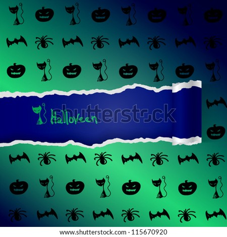 Green background with pattern of Halloween characters. EPS10 vector.
