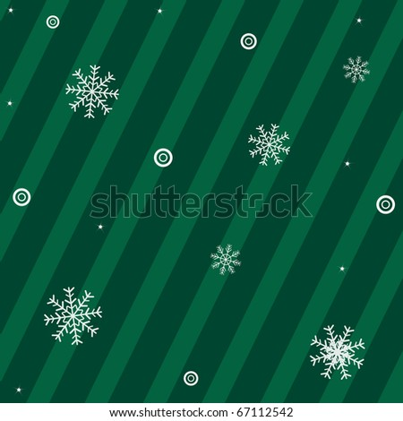 Green Background With Snowflakes With New Year\'s Sphere And Stars, Vector Illustration