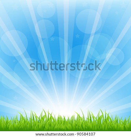 green background with sunburst