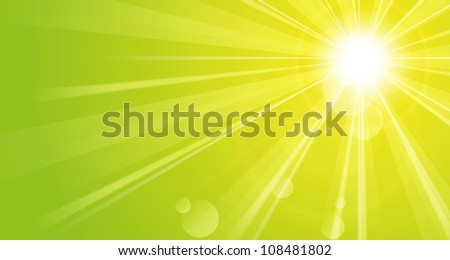 green background with sunshine