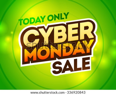 Green background with text for cyber monday. Vector illustrations. Cyber Monday banner design