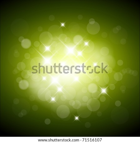 Green background with white lights and place for your text