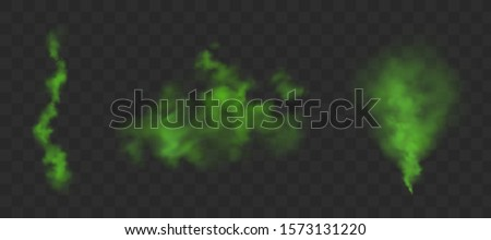 Green bad smell. Stink clouds of farting, smoke or stench gases. Vector realistic set of chemical toxic vapour, breath or sweat odor isolated on transparent background Stock fotó ©