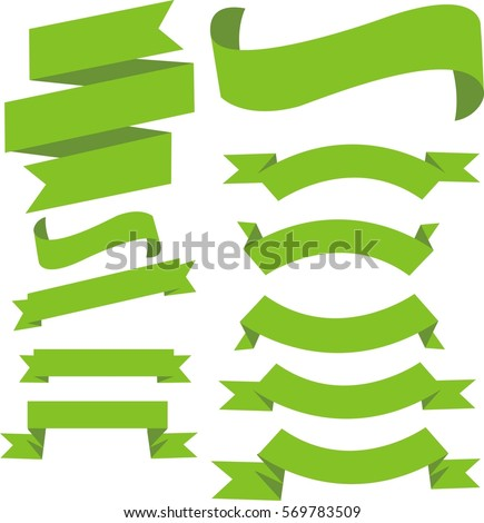 Green banner ribbon vector set on isolated background