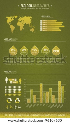 Green based ecologic infographic element for the web and print usage