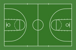 Green basketball court floor with line for background. Basketball field. Vector illustration.