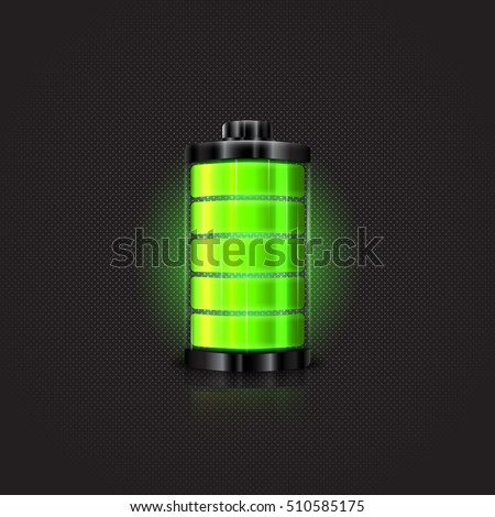 Green battery, full charge with lighting. Vector illustration.