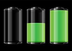 Green battery vector illustration on black background