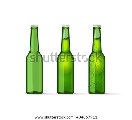 green beer bottles set  full