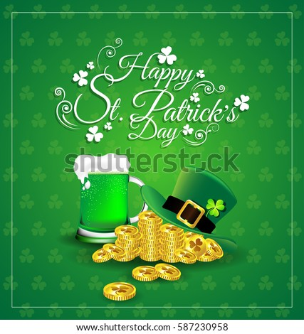 green beer with hat on gold
