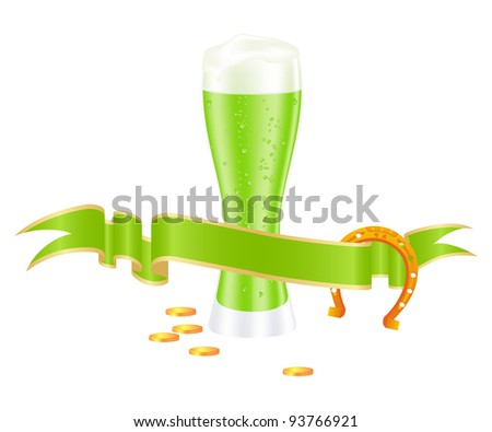 Green beer with shamrock for st. patrick's day. Vector illustration.