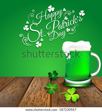 green beer with shamrock on