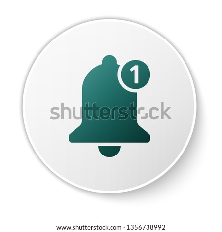 green bell icon isolated on