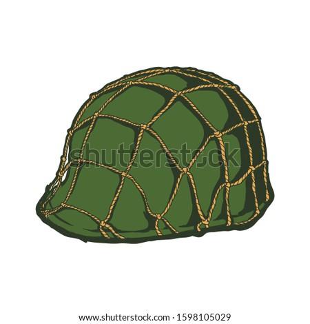 Green Beret. Army helmet. World War Helmet. Military set of headgear. Vector illustration