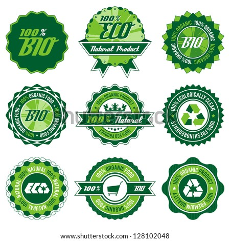 green bio, eco, organic label set with differently varied modern, vintage elements, eps 8 , no transparencies, ideal for prints
