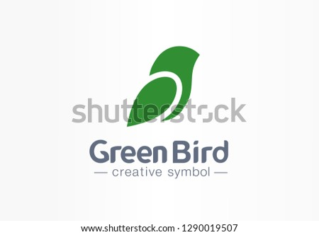 Green bird creative eco symbol concept. Nature freedom sparrow abstract leaf silhouette wing business logo. Art healthcare environment message icon. Corporate identity logotype, company graphic design