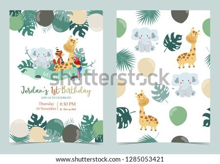 Green birthday card with elephant,fox,giraffe,parrot,ribbon and balloon Foto stock ©