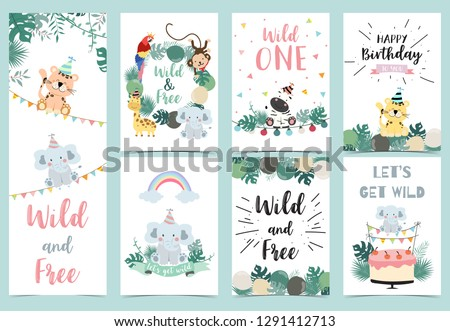 Green birthday card with tiger,monkey, giraffe, zebra,cake,leaf,rainbow and balloon.The wording are Wild and free ,Wild one