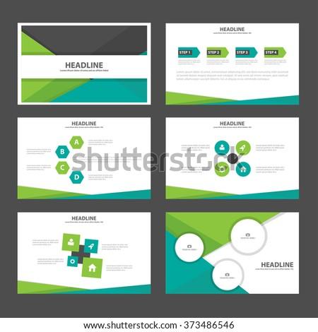 Green black presentation templates Infographic elements flat design set for brochure flyer leaflet marketing advertising