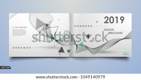 Green, black, triangle, kurve lines icon. Bright leaves text frame. Patch a4 brochure cover design. Title sheet model set. Creative front page art. Ad banner theme. Modern flyer font. 2019. 2018. Year