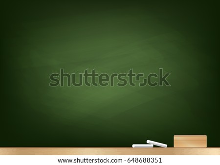 Green Blackboard background, chalk and blackboard eraser, rubbed out dirty chalkboard, vector illustration