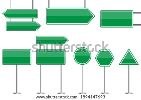 Green blank road signs. Advertising place. City illustration. Billboard design. Stock image. EPS 10. Сток-фото ©