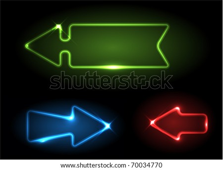 Green, blue and red neon arrows on black background - stock vector