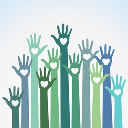 Green blue colorful caring up hands hearts vector logo design element. Volunteers hands up with heart emblem icon for education, health care, medical, volunteer, vote