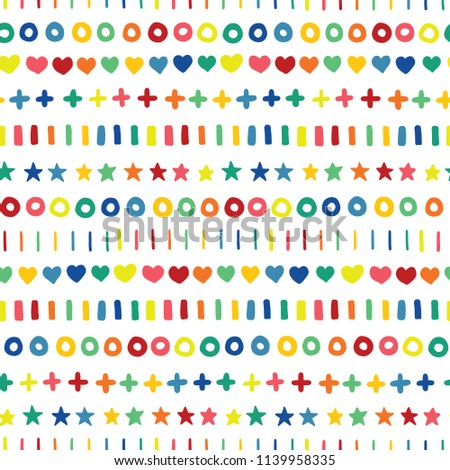 Green, blue, red, yellow, orange, green, and pink geometric hand drawn rainbow shapes on a white background.