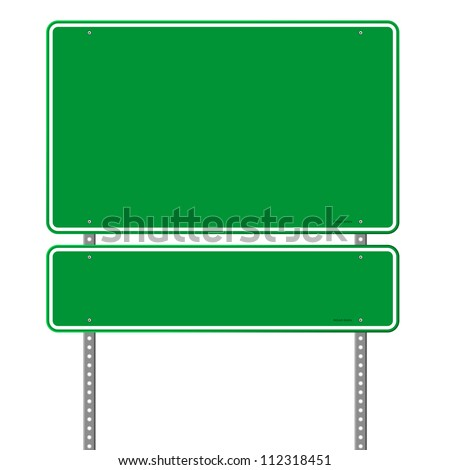Green Blue Roadsign - Square roadsigns in green color tones isolated on white background