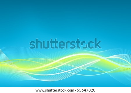 Green blue wave vector background. Horizontal background in shades of blue and green. Use of global colors, linear gradients, blends and clipping masks.