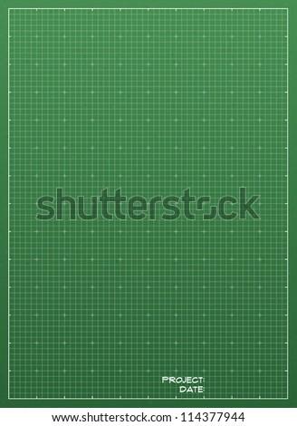 Green blueprint background texture. Vector illustration.