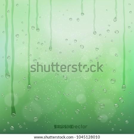 green blurry rain bokeh wet