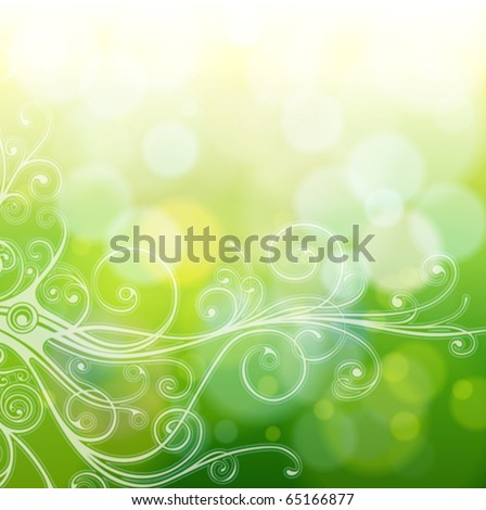 Green bokeh abstract light background & vintage calligraphy ornament. Vector illustration