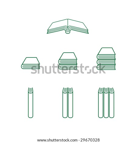 Green Book Icons - Open and Closed Books - stock vector