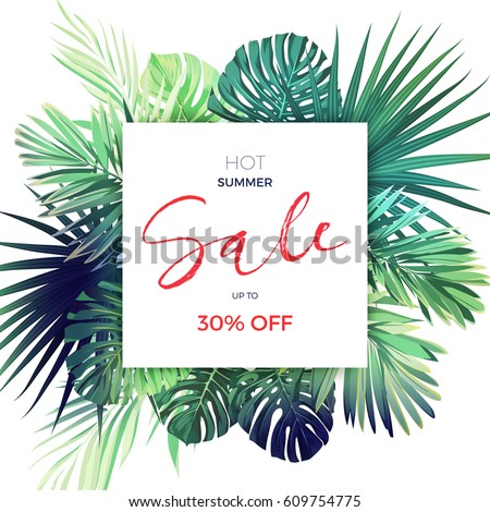 Green botanical summer tropical sale flyer with palm leaves and exotic plants. Vector floral banner template.