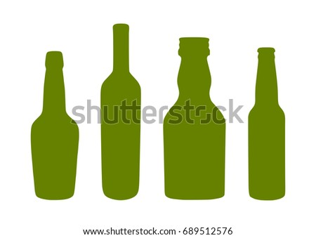 green bottles silhouettes vector