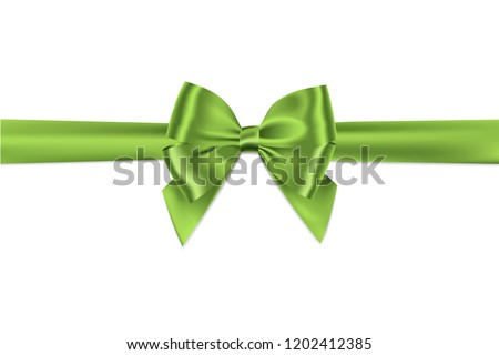 Green bow and ribbon realistic shiny satin with shadow for decorate your greeting card or website,vector isolated on white background.