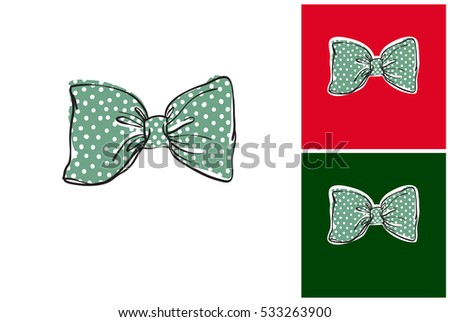 Hand drawn bow tie background download free vector art stock green bow tie isolated vector art element on white gray and dark green voltagebd Choice Image