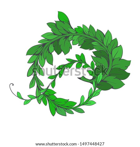 Green branch with leaves.Vector branch. Vector decorative branch, green liana with foliage. Floral ornament.