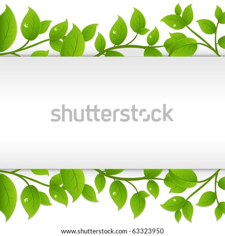 green branches with white paper