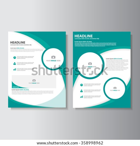 Green Brochure A4 Flyer Leaflet Template Set For Marketing And