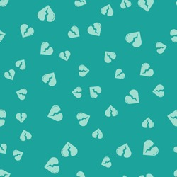 Green Broken heart or divorce icon isolated seamless pattern on green background. Love symbol. Valentines day.  Vector Illustration