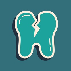 Green Broken tooth icon isolated on green background. Dental problem icon. Dental care symbol. Long shadow style. Vector.