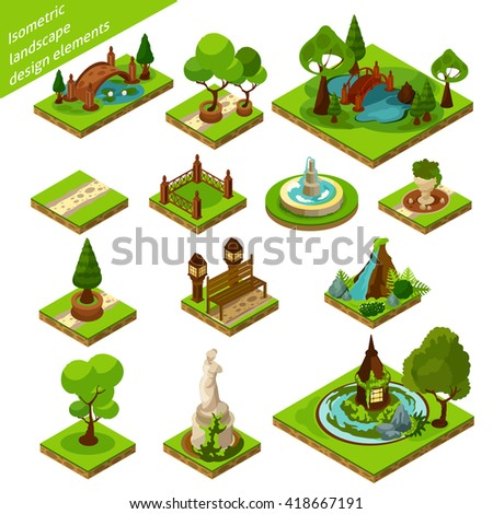 green brown and blue isometric