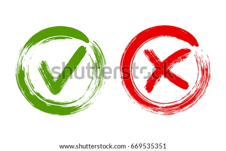 Green brush symbolic OK and red X icon isolated on white.Tick and cross signs, check marks graphic design. YES and NO acceptance and rejection symbol vector buttons for vote choice. Round frames.